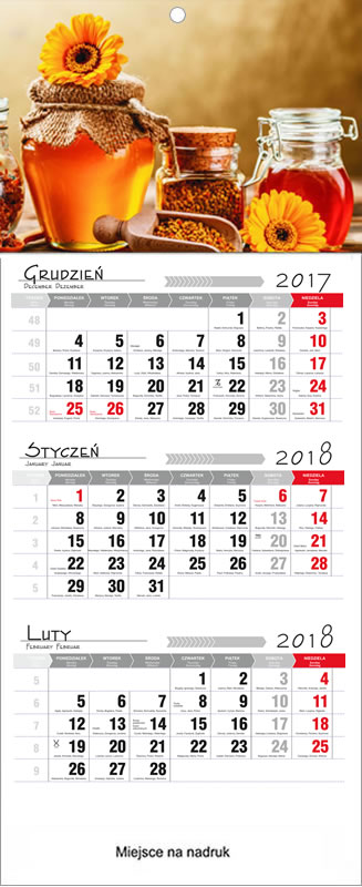 Druk Kalendarzy trójdzielnych 2017  Sanok